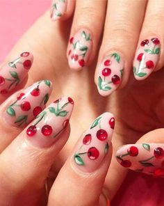 Gorgeous trends and styles of cherry nail arts and designs for ladies who have long nails in year Flower Nail Designs, Long Nail Designs, Flower Nail Art, Cute Nail Designs, Acrylic Nail Designs, Long Round Nails, Long Nails, Cute Nails, Pretty Nails