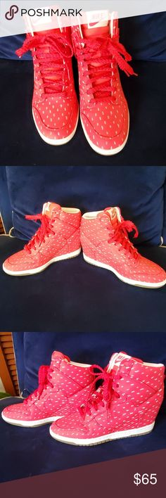 best website b33b2 f841c Red Nike Ski-hi dunks (wedge) worn once Pristine condition. Worn once