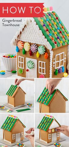 The gingerbread designs of this townhouse kit take your decorating to new heights—from the slender silhouette of the house to the fun candy shapes and colorful fondant decorating choices. This is a great gift for your favorite realtor, builder, or anyone who loves distinctive homes! #wiltoncakes #gingerbreadhouse #gingerbreadhousetechniques #gingerbreadhouseparty #gingerbreaddesign #gingerbreadhouses #candy #gingerbreadhouseideas #gingerbreadhousedecorating