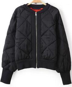 Black Long Sleeved Diamond Pattern Crop Jacket