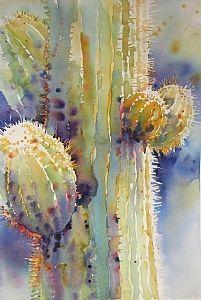 Saguaro Lightcatcher by Yvonne Joyner Watercolor ~ Cactus stunning Cactus Painting, Watercolor Cactus, Cactus Art, Watercolor Landscape, Watercolor And Ink, Watercolour Painting, Watercolors, Painting Flowers, Art Floral