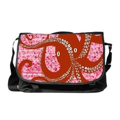 Red Octopus on paint splash Messenger Bag Red Octopus, Paint Splash, Designer Shoulder Bags, Best Christmas Gifts, Messenger Bag, Diaper Bag, Artsy, Monogram, Designers