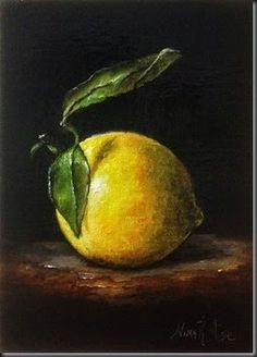 """Daily Paintworks - """"Lemon with Leaves No 14. Oil on linen 7"""" x 5"""""""" - Original Fine Art for Sale - © Nina R. Aide"""