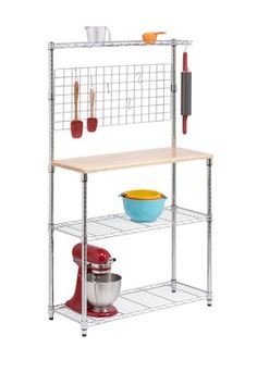 Chrome 2 Shelf Urban Bakers Rack: Great way to add extra counter and shelf space to the apartment