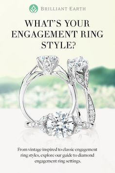 Find your ideal engagement ring style. From vintage inspired to classic engagement ring styles, explore our guide to diamond engagement ring settings set with beyond conflict free diamonds and handcrafted from recycled precious metals. #vintageengagementringsclassic