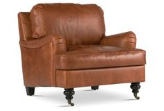 LIVING: More traditional lines for C? (Percy Leather Chair, Umber)
