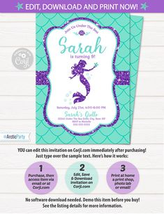 Mermaid Invitations Template! Backside design included. No waiting! Edit NOW from home using Corjl.com.  ♥Try out the Mermaid Invitation DEMO now! Copy and paste the URL below to demo:  http://beta.corjl.com/orders/demo/230