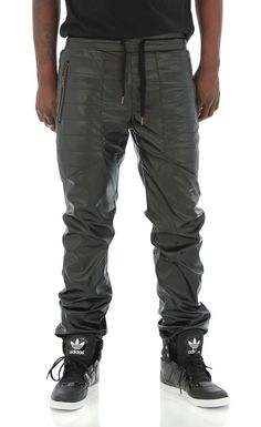 5f0edd0dfdd9 Square Zero Men s Stitched Pockets Faux Leather Jogger Pant at Amazon Men s  Clothing store  Sklad