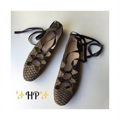 ✨HP✨Fish Scale Ballet Flats  ALL BLACK Rare Beautiful ***Narrow*** Ballet Flats Details: Leather, Coffee w/cream color, brown ribbon, EUC Measurements: please take a look at photos - I am no shoe expert - measurements are of the sole - 3.5 width 10.5 length *Narrow* All Black Shoes