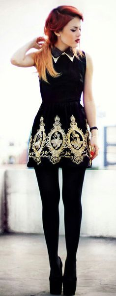 Golden Embroidery Sleeveless Black Dress. LOVE... but it would be another case of all dressed up with no where to go.
