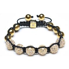 Gold Faceted Bead Crystal Bead Unisex Shamballa Inspired Bracelet 12mm
