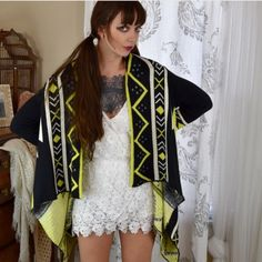 Lime Aztec Tribal Cardigan Sweater Tribal print. Size small medium. My measurements are 34 C bust and I'm 5'8 inches tall. Same day shipping on all orders. No trades. Offers welcome. Sweaters Cardigans