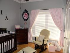 Baby Girl's Pink and Gray Nursery Valspar Signature: Here are the details of our baby girl's restful pink and gray nursery decor.  I have included shopping resources for all the items that we used in decorating
