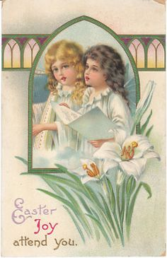 Easter Angels Vintage Postcard circa 1915