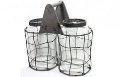 $28.50 {Reclaimed Look} Two Glass Jars With Grid Lids in a Large Caddy~Enjoy Today's Steal from DECOR STEALS www.decorsteals.com previously WUSLU