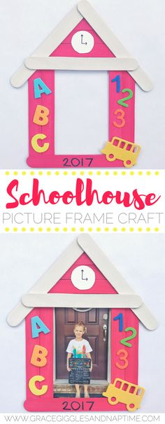 Back-to-school craft! Popsicle stick schoolhouse picture frame craft for preschoolers