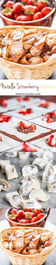 Nutella and Strawberry Wontons - fresh strawberries and nutella paired together . Nutella and Strawberry Wontons - fresh strawberries and nutella paired together in a little wonton wrapper, then fried to perfection. Just Desserts, Delicious Desserts, Dessert Recipes, Yummy Food, Think Food, Love Food, Yummy Treats, Sweet Treats, Bolo Fit