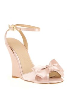 Blush and bow wedge wedding shoes