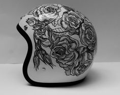 "somethingwell: "" roses customized helmet by rebecca bonaci """