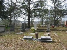 """Evergreen Cemetary, Ocean Springs, Mississippi  - there is the ghostly """"lady in white"""" who approaches people often here until they run in fear, she is also  seen rocking in a rocking-chair so often that it is known in the area as """"the rock-and-roll cemetary""""  - shadow figures are reported, the cemetary gates are known to close on their own when people try to leave"""