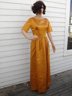 Vintage 60s Satin Gown Dress Party Rich Harvest Gold S by soulrust, $79.99
