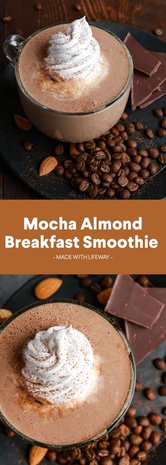 Mocha Almond Breakfast Smoothie – Easy To Make Recipe – Food Yummy Drinks, Healthy Drinks, Yummy Food, Healthy Eating, Delicious Recipes, Easy Recipes, Healthy Food, Dinner Recipes, Easy Smoothies