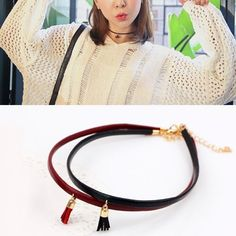 Leather belt short collar cord tassel collar necklaces  bico necklaces pendants #jewelry #key #pendants #juggalo #necklaces #pendants #lalique #necklaces #pendants #pendants #necklaces #dog #tags