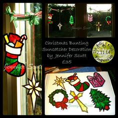 This one of a kind bunting style decoration is made with 6 mini suncatchers By Jennifer Scutt, https://www.facebook.com/media/set/?set=a.852701888139764.1073741864.664237603652861&type=3