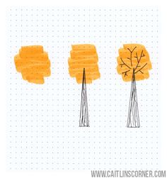Cute little fall tree doodle for your bullet journal. Bullet Journal Agenda, Bullet Journal Layout, Bullet Journal Inspiration, Journal Ideas, Bullet Journals, Kunstjournal Inspiration, Doodle Art Journals, Paper Illustration, Doodle Drawings
