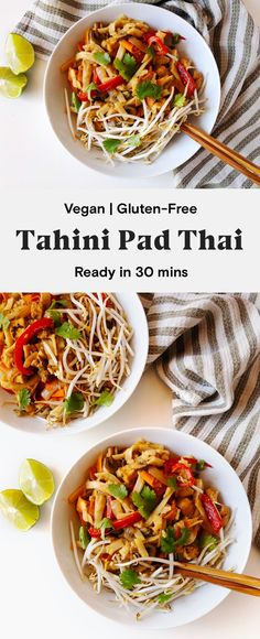 This easy tahini pad thai is ready in under 30 minutes! Rice noodles, tofu, and veggies topped with a creamy tahini lime sauce. Tofu Recipes, Vegan Recipes Easy, Asian Recipes, Free Recipes, Vegetarian Recipes, Tahini, Vegan Pad Thai, Easy Vegan Dinner, Healthy Vegetables