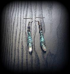 Verdigris Patina Filigree Earrings with Quartz Crystals