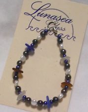 LUNASEA TREASURES DRILLED SEA GLASS COBALT AMBR GRY BLU WHT FW PEARL BRACELET 8""