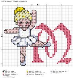 alfabeto con ballerine: M