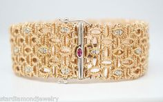 Roberto Coin 18K Rose Gold Barocco Bracelet with Diamonds in Twisted Threads
