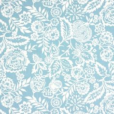 NEW yard Oilcloth - Laminated waterproof Cotton tablecloth wide linen flowers azure blue