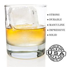 Taylor'd Milestones ~ Scotch Glasses - 10 oz Set Of 2 Diamond Etched Strong Old Fashioned Whiskey Glass with Heavy Sham. Traditionally Crafted with Clean, Straight Lines. Crystal Clear - 2 Piece Gift Set Tastefully Designed to Impress and Serve with Style!
