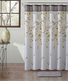 Merveilleux Yellow Lani Floral 14 Piece Shower Curtain Set #