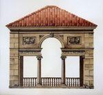 Teahouse, Villa Turicum / Michael Hampton / watercolor on paper / Art Size: 9.25 x 8.5; Frame Size: 18 x 17.5