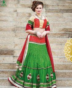 Green Jacquard Fabric A Line Lehenga Choli In Traditional Look ,Indian Dresses - 1