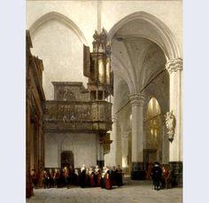 Afbeelding van De Nieuwe Kerk te Amsterdam ca.1844, olieverf op paneel. Johannes Bosboom