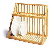 The Wall-Mounted Dish Rack from UK kitchen shop David Mellor is made of beech with birch dowels; In the US, Iowa-based Woodform makes a similar style Plate Rack that accommodates a dozen plates; at Stacks and Stacks.