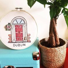Available on Etsy shop! Custom embroidery door, Dublin door, Birthday, Anniversary, Present Gift Wooden Embroidery Hoops, Custom Embroidery, Georgian Doors, Calico Fabric, Print Fonts, Distinguish Between, Present Gift, Lovers Art, Wicker Baskets