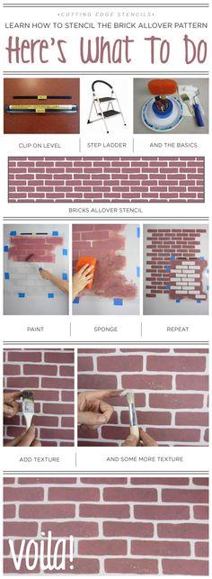 A DIY stencil tutorial using the Brick Allover pattern. http://www.cuttingedgestencils.com/bricks-stencil-allover-pattern-stencils.html   #howtostencil #wallstencils #tutorial