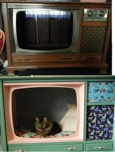 Upcycled console tv turned into pet bed/cat bed. About $40 for spray paint (3 cans), fabric (2 1/2 yrds), cardboard backing, acrylic paint, and elmers spray on glue