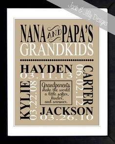 Personalized GRANDPARENT PRINT- the original :) - with Grandchildrens Names and Birthdays - Completely Customizable - Mothers Day via Etsy.Love this and they have one just for grandma so I will deff be getting one of these. Craft Gifts, Diy Gifts, Creative Gifts, Unique Gifts, Holiday Gifts, Christmas Gifts, Lisa, Grandparent Gifts, Grandparents Day