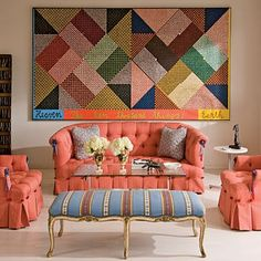 Coral sofa with fram