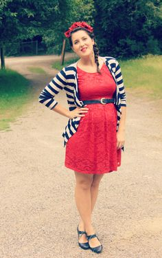 Striped cardigan, red lace dress