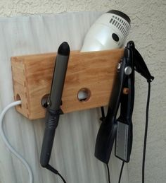 on ETSY hair dryer and curling iron holder. Much needed for my bathroom!