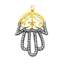 925 Sterling Silver Pave Diamond Hamsa Hand Pendant 14K Gold Filigree Jewelry QU #Handmade #Pendant