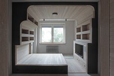 Love this whole concept, but especially the bed! The rest here: http://www.gizmag.com/5th-floor-apartment-cabin-kostelov/23727/pictures#